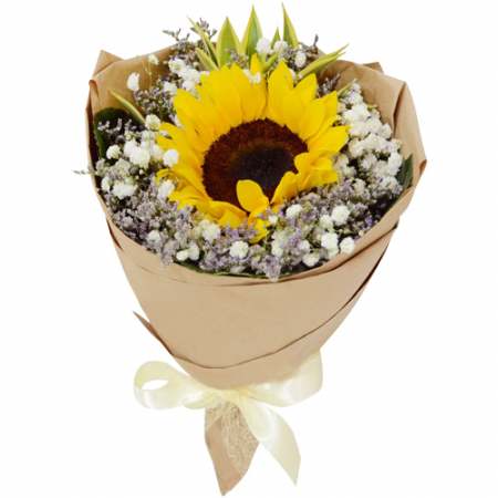 send single sunflower in bouquet to manila