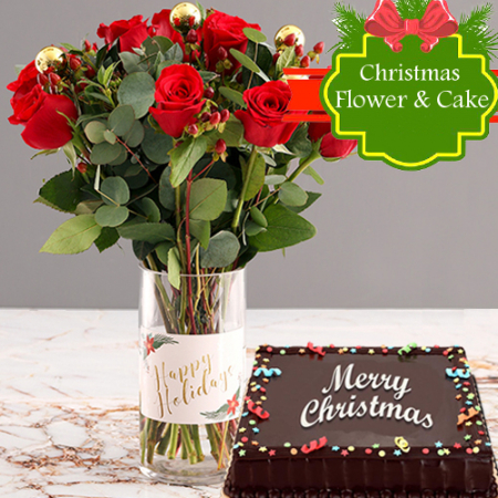 send 12 red rose bouquet with christmas cake to philippines