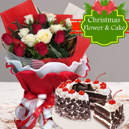 send 18 red and white roses with holiday cake to philippines