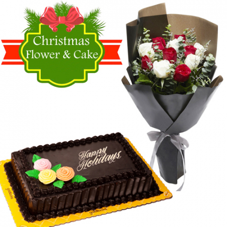 send mixed roses with choco chiffon holiday cake to philippines