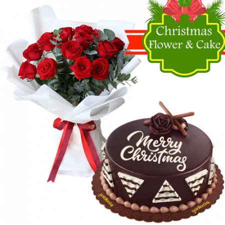 send xmas all about chocolate cake with red roses to philippines