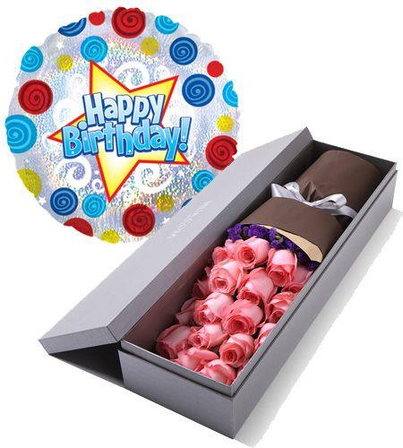 pink roses box with birthday balloon to manila