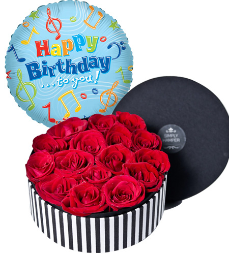Order 18 Red Roses In Round Box With Happy Birthday Mylar Balloon To