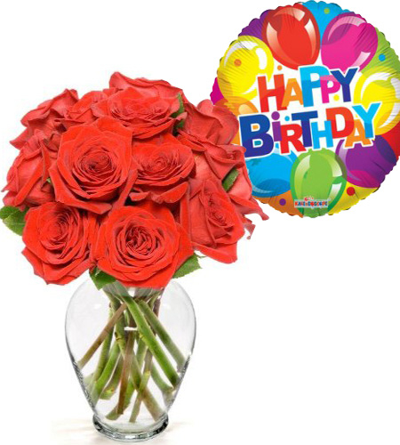 Online 12 Red Roses In Glass Vase With Happy Birthday Mylar Balloon