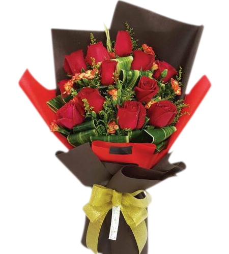1 Dozen Fresh Red Roses Bouquet
