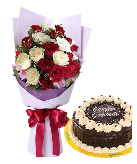 12 White and Red Roses with Rocky Cake