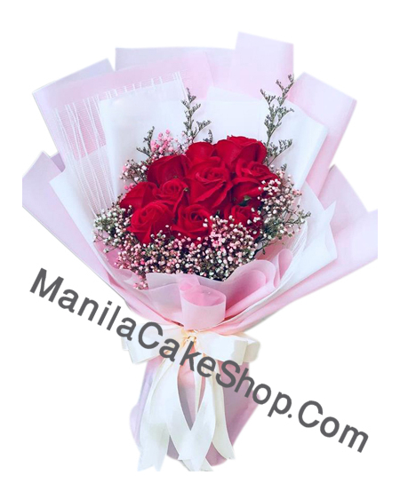 12 red roses in bouquet to manila