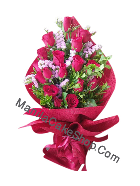 1 dosen pink color rose bouquet to manila