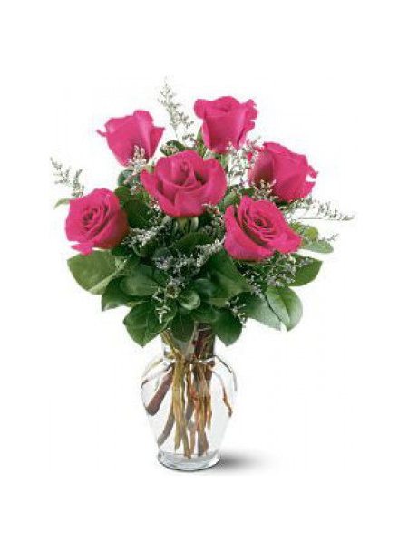 6 pieces pink rose in vase to philippines