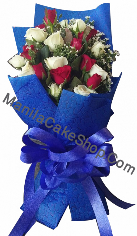 12 red and 12 white roses to manila philippines
