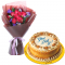 10 Red Roses with Luscious Caramel Cake